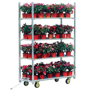 Grower Select Transport Cart With 3 Shelves & 8in Pneumatic Wheels