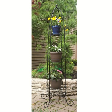 73 5 In Tall Finial Top 3 Tier Plant Stand Black 1 Cs