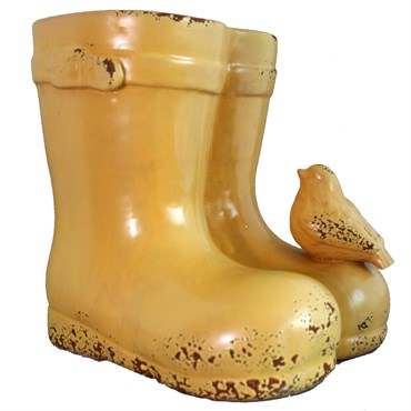 Bella Ceramic Boots Planter With Bird Yellow Bfg Supply