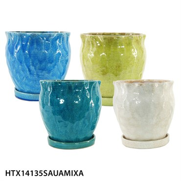 MCarr 8in Hammered Cache Pot w/Saucer 4pc Mix A - Bright Crackle ...