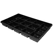 T.O. Plastics 4.5in Press Fill Tray 15 Count SPT-450-15PF - Thermoformed - Square - Black - Sold by 50 Per Case