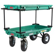 "Millside 20""X38"" Plastic Double Deck Cart With 4X10 Tires"