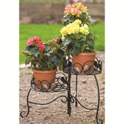 Panacea Plant Stand Folding 3 Tier Scroll & Ivy