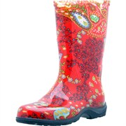 SLOGGERS WOMENS TALLBOOT SIZE 6 RED PAISLEY
