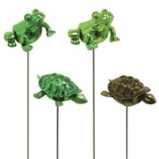 "EXH TURTLES & FROG PLANT STAKES 7"""" 24/CS"
