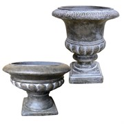 8PC RD TALL & RD SHORT URN PLT BLACK/WHTE