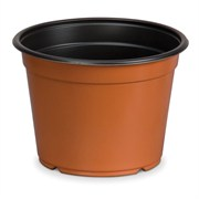 DILLEN® CO-EXTRUDED ROUND 6IN POTS - TERRA COTTA OUTSIDE/BLACK INSIDE- (300/CS)
