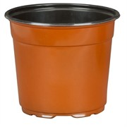 DILLEN® CO-EXTRUDED ROUND 6IN POTS - TERRA COTTA OUTSIDE/BLACK INSIDE - (294/CS)