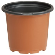 Dillen 4.5In Co-Extruded Round Geranium Pot With Tag Locator - Terra Cotta Outside/Black Inside - 720 Per Case