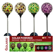 Alpine Solar Glass Globe Stake with 1 LED Light