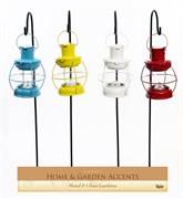 Alpine 8pc Metal Glass Lantern w/ 12 LED B/O Ds
