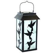 Alpine Solar Metal Lante w/ LED Lights Hummingbrd