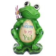 "Alpine 18"" Welcome To MyPad Frog Statuary"
