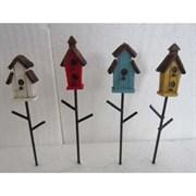 Bella Miniature Birdhouse Stakes 4pc