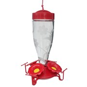 Friends of Flight 14oz Etched Glass Red Hummingbird Feeder