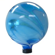Gardener Select 10in Glass Gazing Globe Blue with White Swirl