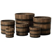 MCarr 6pc Liconfiber Whiskey Barrel Planter Brown Oak