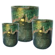 MCarr 12pc Volcanic Tall Round Planter Pallet Falling Green