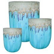 MCarr 12pc Volcanic Tall Round Planter Pallet Milky Blue