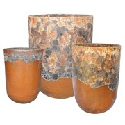MCarr 12pc Volcanic Tall Round Planter Pallet Matte Honey