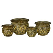 Regal Art Sm Planter Set 4 Gold Leaves