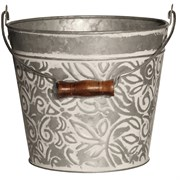 "Robert Allen 8"" Banded w/ Handle Planter Galvanized Wht Wh"