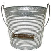 "Robert Allan 10"" Ribbed w/ Hdle Galvanized w/ Wht Wash"