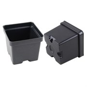 "Grower Select 4.5"" Polystyrene Vacuum Formed Square Pot Black 450/CS"