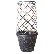 Grower Select 13In Lattice Round Planter with Trellis Cage - Black/White